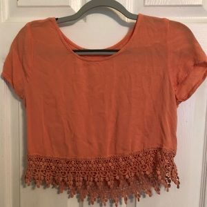 Coral cropped blouse